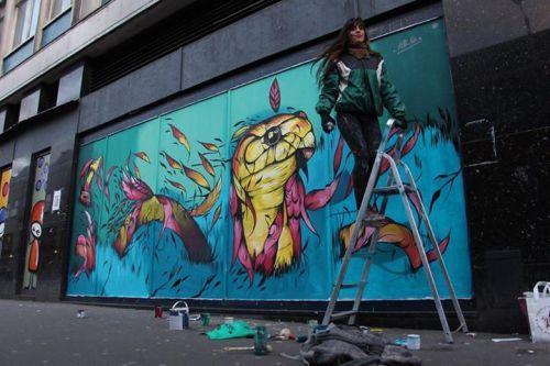 Street art by Fio Silva on Park Street