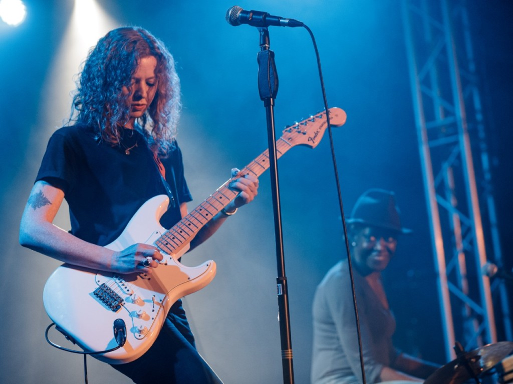 South London rock duo Phoenix Raven play onstage at South Norwood Community Festival